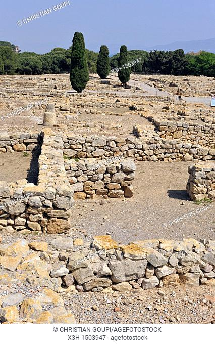 Greek part of the archeological site of Empuries, Costa Brava, Catalonia, Spain, Europe