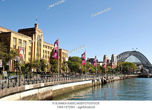 Sydney Museum of Contemporary Art and harbour Bridge, NSW, Australia