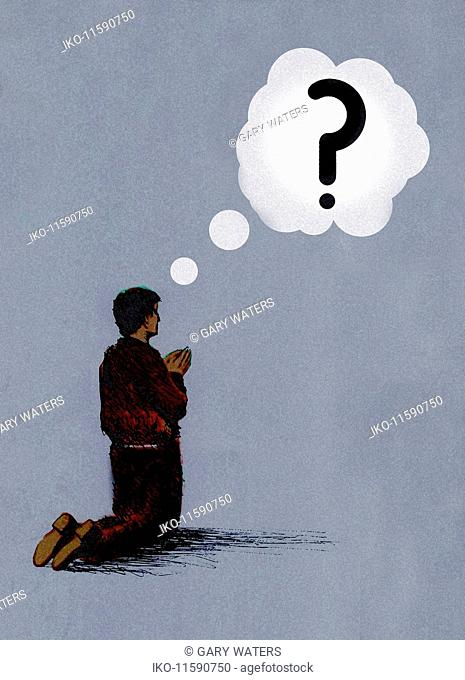Man kneeling praying with question mark thought bubble
