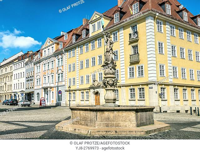 Fountain at the Obermarkt in Goerlitz, Saxony, Germany
