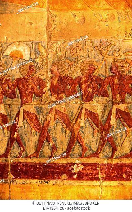 Colourful wall carvings at Queen Hatshepsut's temple in Dier el Baihari near Luxor, Egypt, Africa