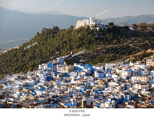 View of Chefchaouen from Spanish Mosque, Chefchaouen, Morocco, North Africa, Africa