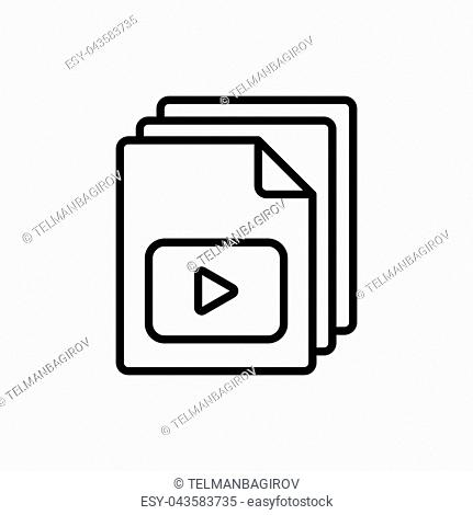 thin line video file, play icon on white background