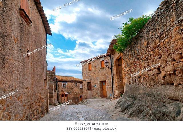 Empty street in Peratallada, Spain