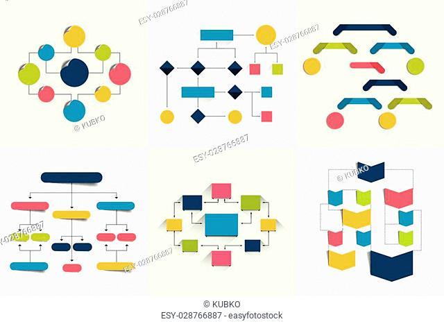 Flowcharts. Set of 6 flow charts schemes, diagrams. Simply color editable. Infographics elements