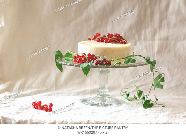 White mousse cake with redcurrants on a glass plate on white cloth