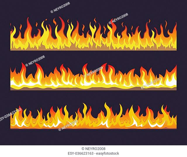 Fire flame seamless set. Burn hot, warm heat energy, flammable fiery, vector illustration
