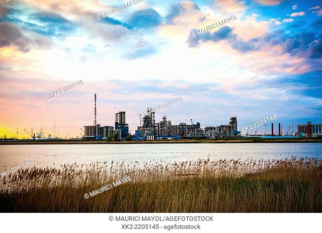 Petrochemical factory next to the river Schelde, Antwerp, Belgium