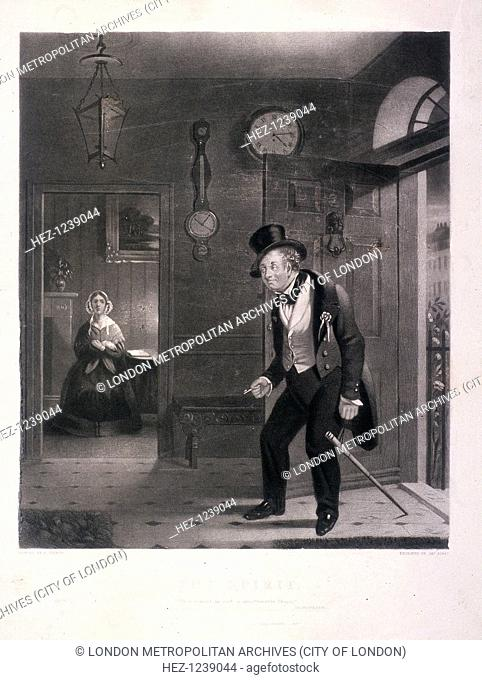 'The Spirit. 'Thou comest in such a questionable Shape', 1845. A man entering his house, the worse for drink after attending the anniversary dinner of the...