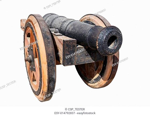 Old Arab cast-iron cannon isolated on white