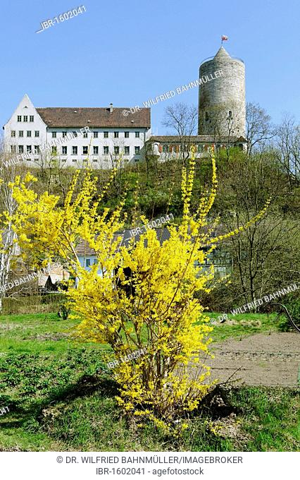 Round tower of the former castle next to a new house from 1934, Camburg, Dornburg-Camburg, Thuringia, Germany, Europe