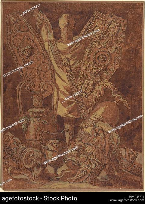 Design for a Military Trophy. Artist: Attributed to Jean Jacques Lagrenée (French, Paris 1739-1821 Paris); Former Attribution: Formerly attributed to Anonymous
