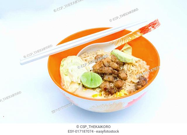 Instant Noodle in orange bowl on the white background