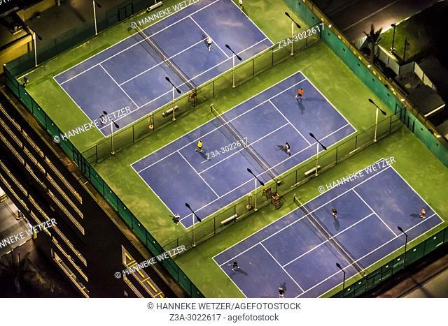 Rooftop tennis fields at Dubai Marina, Dubai, UAE