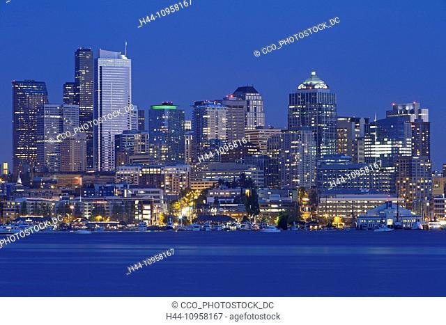 The Seattle skyline at night. Seattle, Washington. USA