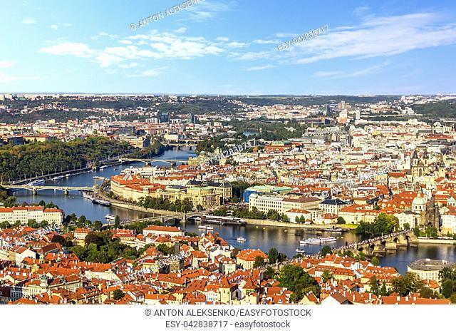Prague bridges over the Vltava, Lesser Town and Old Town view