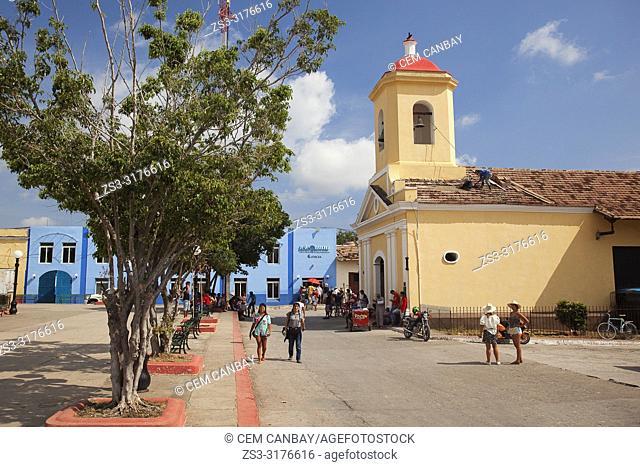 View to the Parroquia San Francisco De Paula in Parque Cespedes-Cespedes Park at the historic center, Trinidad, Sancti Spiritus Province, Cuba, Central America