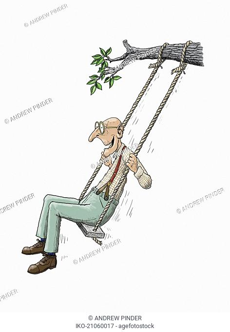 Elderly man having fun on rope swing