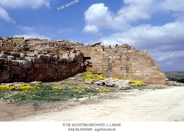 Fortifications around the acropolis of the ancient city of Selinunte, Sicily, Italy. Greek civilisation, Magna Graecia, 6th-5th century BC