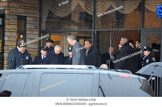New York mayor Bill de Blasio attends the wake for slain NYPD officer Wenjian Liu held at Aievoli Funeral Home Featuring: Bill de Blasio
