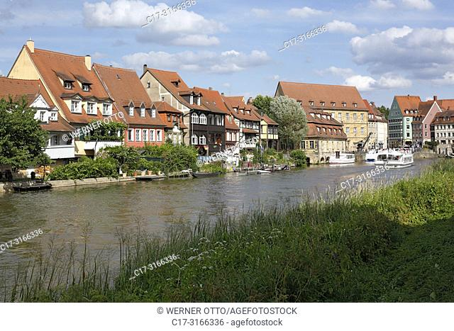 Bamberg, D-Bamberg, Regnitz, Main-Danube Canal, Upper Franconia, Franconia, Bavaria, Little Venice at the Regnitz, Klein-Venedig, former fisheries, fishing camp