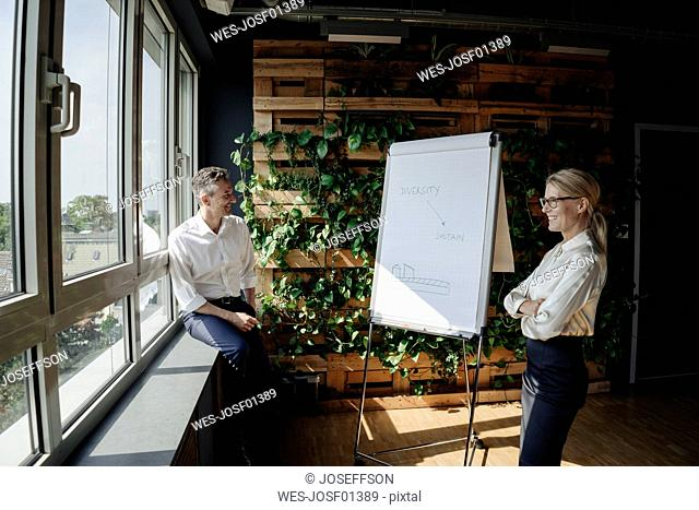 Businessman and businesswoman working with flip chart in green office