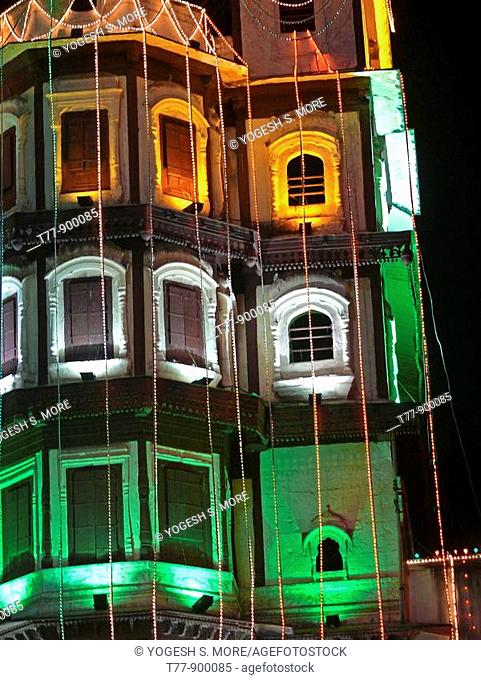 Indore Palace, decorated with light at evening of 15th august  Indore , Madhya Pradesh, India