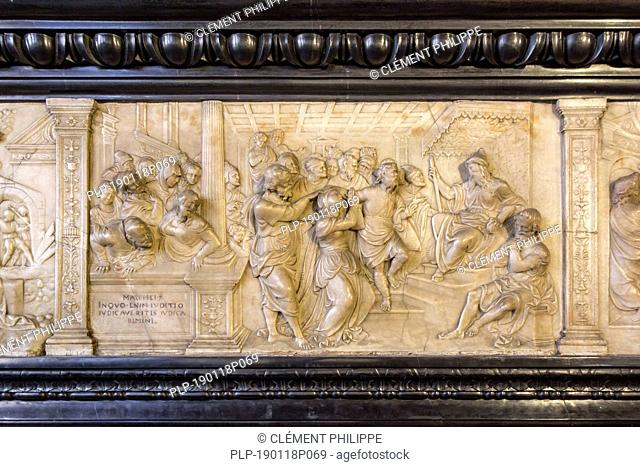 Alabaster frieze of 16th century fireplace in Alderman's chamber at Brugse Vrije, former law court / courthouse in the city Bruges, Flanders, Belgium