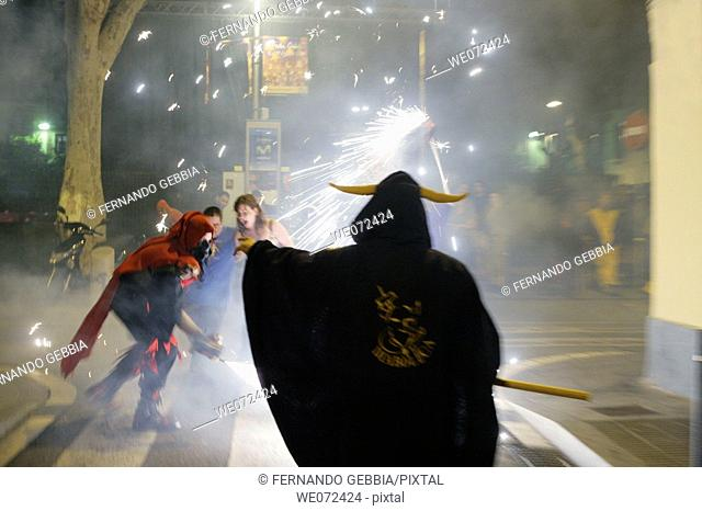 'Correfoc' parade including fireworks, Catalan traditional festival