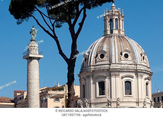 Italy, Lazio, Rome, Trajan's Column background Church of S S  Nome di Maria