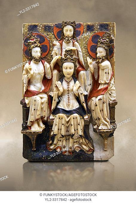 Gothic marble relief sculpture of the Coronation of the Virgin Mary made in London or York, 1420-1460. National Museum of Catalan Art, Barcelona, Spain