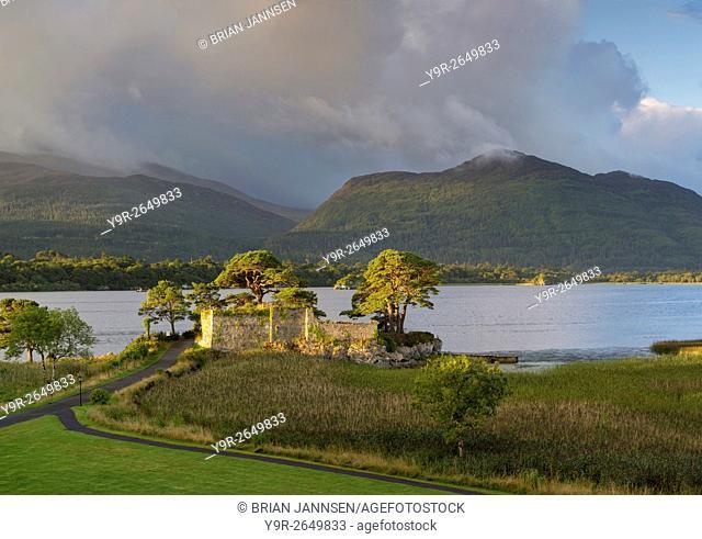 Sunrise over McCarthy Mor Castle along Lough Leane, Killarney National Park, County Kerry, Ireland