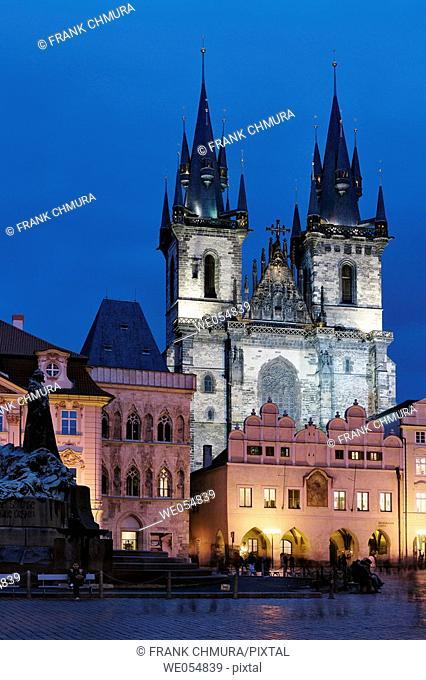 Czech Republic, Prague. The Old Town Square. Tyn Church