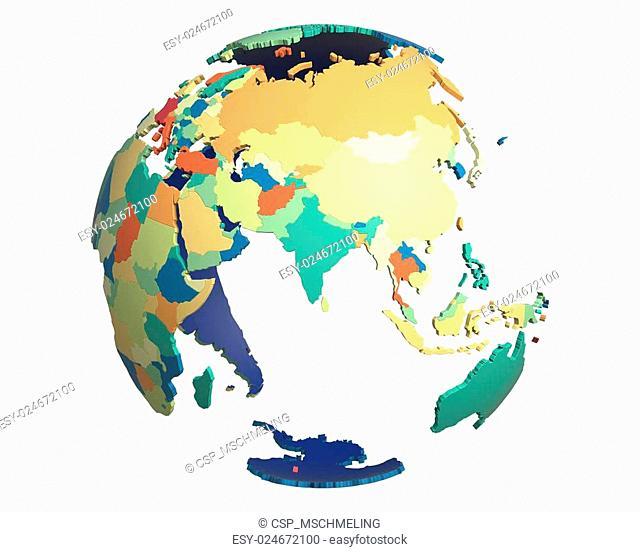 Political Globe, centered on India