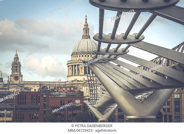 The millennium Bridge with view to the St Paul's Cathedral, London, England, Great Britain
