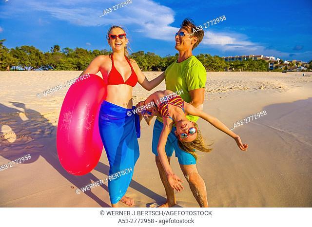 Family on the beach. Aruba, Caribbean