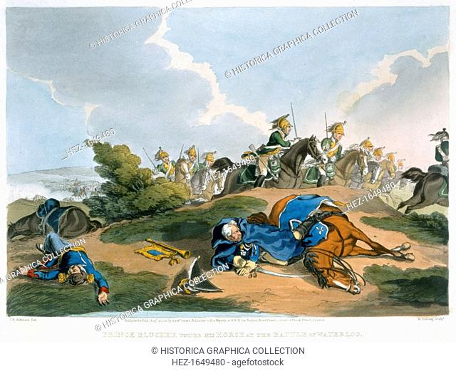 'Prince Blucher under his Horse at the Battle of Waterloo', 1815. The intervention of Field Marshal Blucher's Prussian army made a vital contribution to...