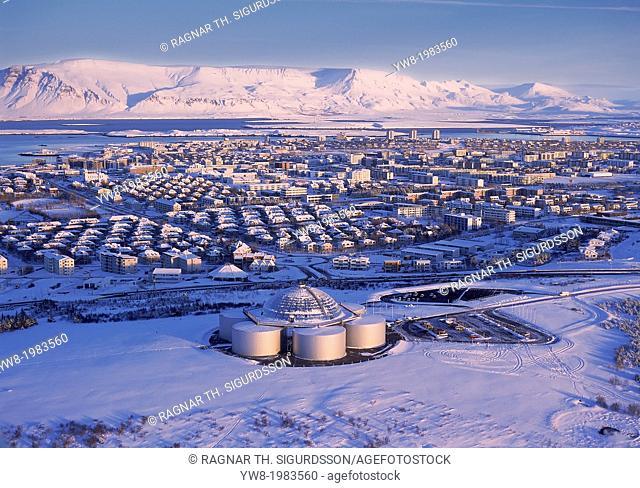 Aerial view in winter, Reykjavik, Iceland