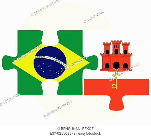 Brazil and Gibraltar Flags in puzzle isolated on white background