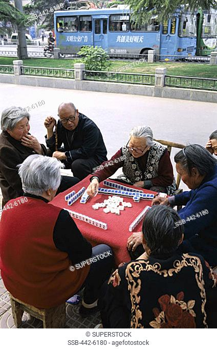 Street Scene, Elderly Men & Women Playing Mahjong, Gambling Game, Beijing, China