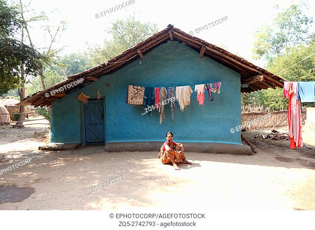 Traditional house, BHATRA TRIBE, Ulnar village, Chattisgarh, India