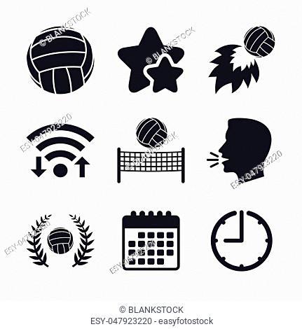 Volleyball and net icons. Winner award laurel wreath symbols. Fireball and beach sport symbol. Wifi internet, favorite stars, calendar and clock