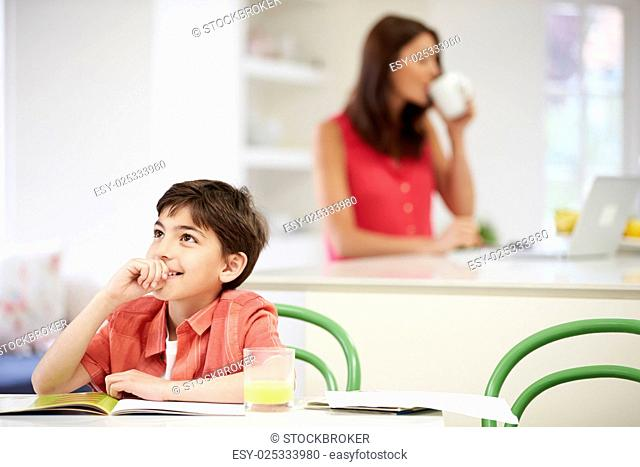 Son Does Homework As Mother uses Laptop In Background