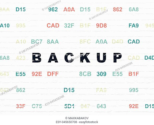 Software concept: Painted black text Backup on White Brick wall background with Hexadecimal Code