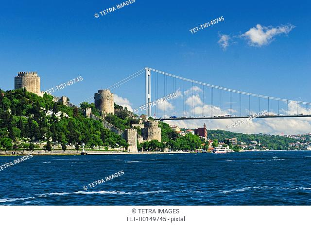 Turkey, Istanbul, Fortress of Europe with Fatih Sultan Mehmet Bridge over Bosphorus