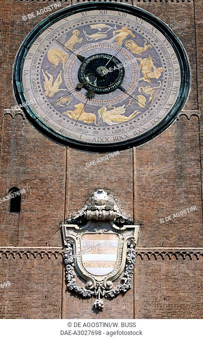 The Astronomical Clock (1583-1588) and the coat of arms of Cremona, the Torrazzo, bell tower of Cremona Cathedral (1107-1117), Piazza del Comune, Cremona