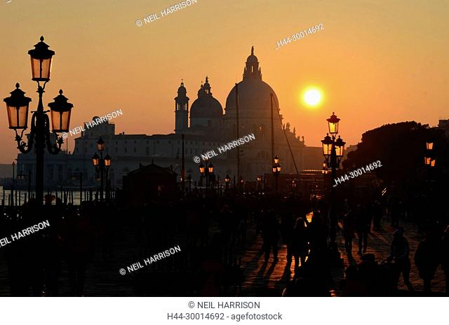 Sunset in Venice over the basilica of Santa Maria della Salute, viewed from St Mark's Square
