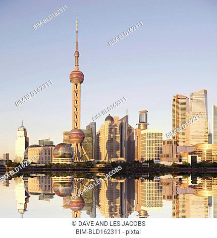 Highrise buildings in Shanghai cityscape, Zhejiang, China
