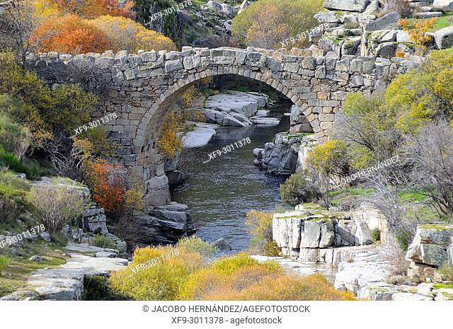 Bridge over the Barbellido river in the Pozo de las Paredes. Gredos mountains. Navacepeda de Tormes. Ávila province. Castilla y Leon. Spain
