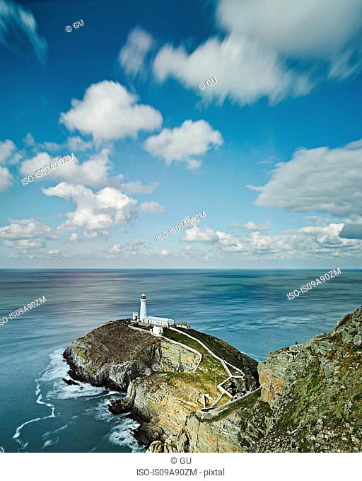 Elevated view of lighthouse in Anglesey